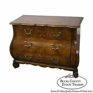 Baker Figured Walnut Bombe Commode Chest
