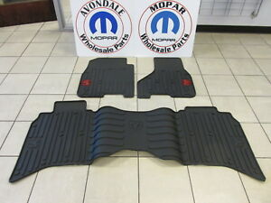 Dodge Ram W Red Ram Logo Crew Cab Front Rear All Weather Slush Floor Mats Mopar