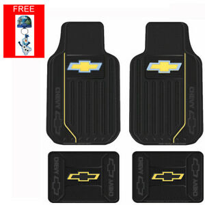 New 5pc Chevy Elite Bowtie Logo Front Back Rubber Floor Mats Keychain Set