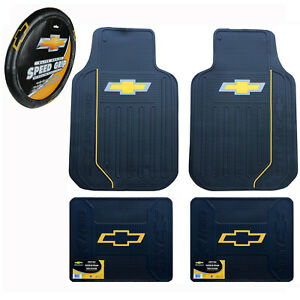 Brand New Chevy Bowtie Elite Universal Rubber Floormats And Steering Wheel Cover