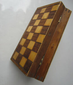 Vintage Wooden Checkerboard Game Chess Box Ornate Pokerwork
