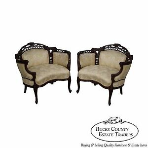 Vintage Pair Of French Louis Xv Carved Barrel Back Bergeres Canapes Chairs