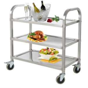 Commercial 3 shelf Stainless Steel Restaurant Utility Cart Kitchen Buffet Wheel