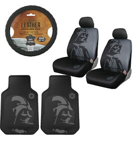 New Star Wars Darth Vader Mask 7pc Floor Mat Seat Covers Steering Wheel Cover