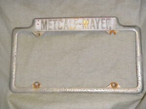 Rare Burlingame Ca Edsel Dealer License Plate Frame Metal Tag Metcalf mayer