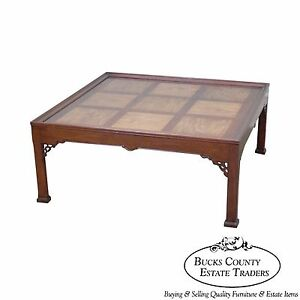 Quality Chippendale Style Mahogany Mixed Wood Square Coffee Table