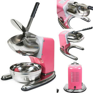 Pink Commercial Dual Blade 143lb h Ice Shaver Crusher Shaved Icee Maker Machine