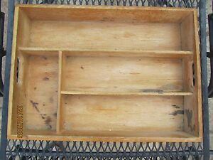 Vintage Dove Tail Wood Serving Tray Display Case For Primitive Miniatures