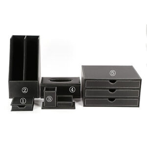 Home Office Desk Organizer Set Desk Drawer Cabinets Tissue Holder 5pcs set Black