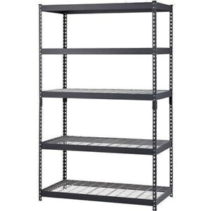 5 Shelf Metal Storage Rack Steel Shelving Adjustable Heavy Duty 48 X 24 X 78 In
