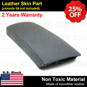 Leather Center Console Lid Armrest Cover Fits For Toyota Prius 2004 2009 Gray