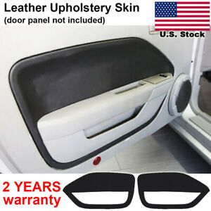 2pcs Leather Door Panel Insert Cards Cover For Ford Mustang 2005 2009 Black