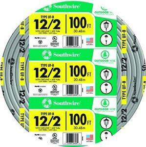 Southwire 13055926 12 2wg Uf Wire 100 foot Approved For Direct Burial Wiring