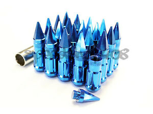 Z Racing Blue Spike Lug Nuts 12x1 5mm Steel Open Extended Key Tuner