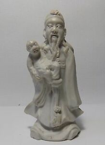 Chinese 19thc White Porcelain Blanc De Chine Immortal W Baby