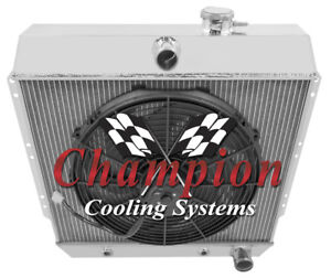 1949 54 Chevy Sedan bel air fleetline 3 Row Dr Radiator 1 X 16 Fan Combo