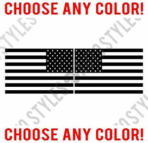 Mirrored American Flag Usa Wrangler Rubicon Vinyl Decal Sticker Set Fits Jeep