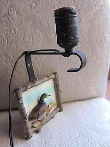 Vtg Hunting Lodge Sonsco Wall Lamp Sconce Light Fixture Porcelain Duck