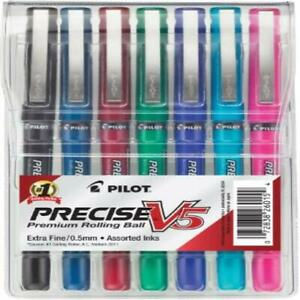 Pilot Precise V5 Stick Rolling Ball Pens Extra Fine Point Assorted Colors 7 pack