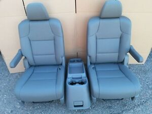 Charcoal Leather Complete Set 2 Bucket Seats Center Console Truck Hotrod Van
