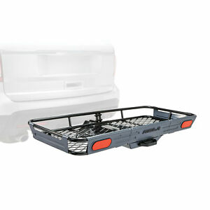 Rola Dart Folding Cargo Basket Carrier 23x56 For 2 Receiver Trailer Hitch Mount
