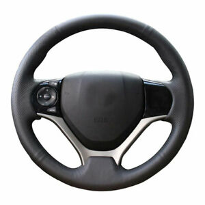 Diy Real Leather Steering Wheel Cover Wrap For 2012 2013 2014 2015 Honda Civic