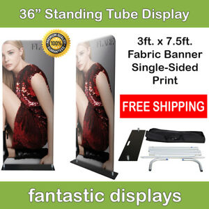 36x92 Fabric Tube Banner Stand Ez Display Tension Print For Trade Show Exhibit