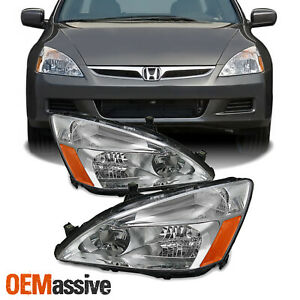 Fits 03 07 Honda Accord Amber Chrome Clear Headlights Headlamps Assembly Pair