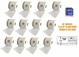 12 Rolls Of Dk 2205 Brother compatible continuous Labels Bpa Free