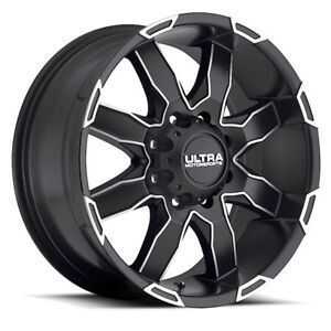 Ultra Phantom 18x9 6x139 7 Black W Diamond Cut Accent Wheels Rims