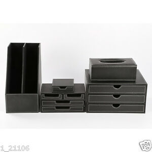 Faux Leather Wooden Office Desk Organizer T24 5pcs set Tissue Holder File Drawer