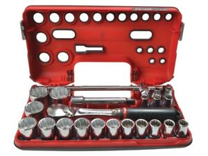 Facom Fcmsldbox412 12pt Detection Box Socket Set 22 Piece Metric 1 2in Driv