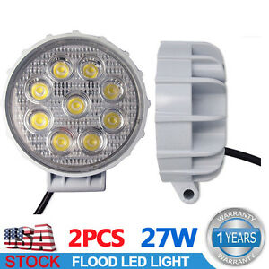 2x 27w Round White Led Work Light Flood Fog Lamp Offroad Driving 4wd Truck Suv