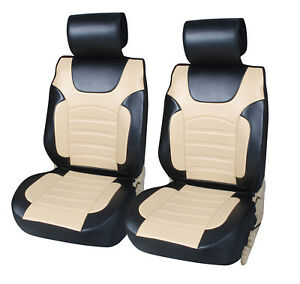 2 Car Seat Covers Pu Leather Cushion Compatible To Lincoln 6802 Bk Tan