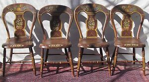 Antique Folk Art Paint Decorated Ohio River Valley Set Of Four Windsor Chairs