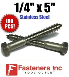 qty 100 1 4 X 5 Lag Screws Bolt Hex Head Stainless Steel 18 8 304