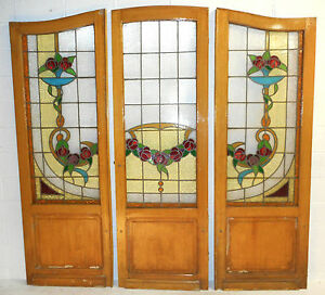 Set Of Three Vintage Victorian Stained Glass Doors 2685 Nj
