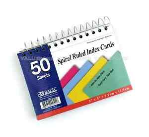 Bazic 50 Ct Spiral Bound 3 X 5 Ruled Index Cards Assorted Neon Colors g03