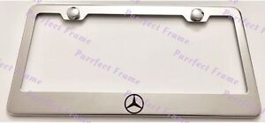 Mercedes Logo Stainless Steel License Plate Frame Rust Free W Bolt Caps