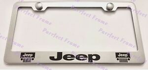 Jeep With 2 Logos Stainless Steel License Plate Frame Rust Free W Bolt Caps