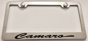 Chevy Camaro Incursive Stainless Steel License Plate Frame Rust Free W Caps