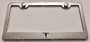Tesla Logo Stainless Steel License Plate Frame Rust Free W Bolt Caps