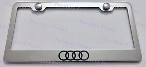 Audi Logo Stainless Steel License Plate Frame Rust Free W Bolt Caps