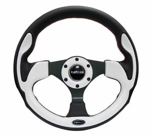 Nrg White Pilota Steering Wheel 320mm Black Pieces With Red Stitching