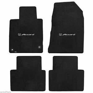 New 2013 2017 Black Floor Mats Honda Accord 4 Door Silver H Logo Set Of 4
