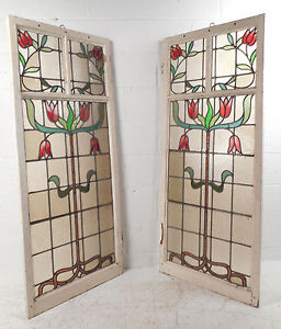 Vintage American Stained Glass Window Panel 2897 Nj