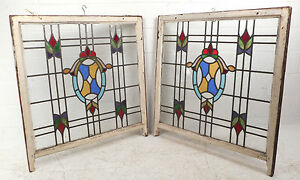 Vintage Stained Glass Window Panel 3035 Nj