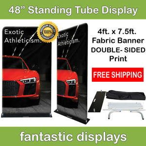 48x92 Fabric Tube Banner Stand Ez Display Tension Double Sided Print Trade Show