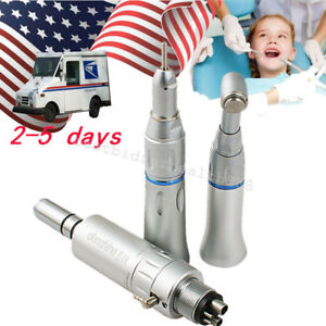Dental Slow Low Speed Handpiece 4 Hole Push Button E type Air Motor Contra Angle