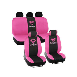 Brand New Dc Comics Super girl Pink Front And Back Car Seat Covers Full Set